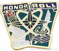 "7/8"" Etched Soft Enamel Honor Roll Chenille Letter Pin"