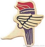 "1"" Etched Soft Enamel Winged Foot Torch Chenille Letter Pin"
