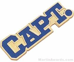 1 1/8″ Etched Soft Enamel Captain Chenille Letter Pin 1
