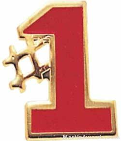 5/8″ Etched Soft Enamel Red #1 Chenille Letter Pin 1