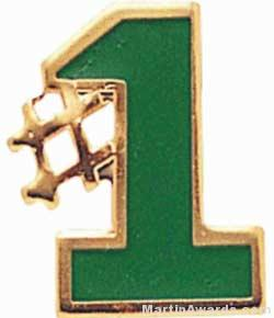 5/8″ Etched Soft Enamel Green #1 Chenille Letter Pin 1