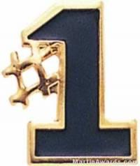 "5/8"" Etched Soft Enamel Black #1 Chenille Letter Pin"