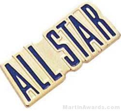 3/4″ Etched Soft Enamel All Stars Chenille Letter Pin 1