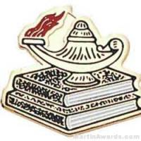 """3/4"""" Etched Soft Enamel Lamp Of Learning Chenille Letter Pin"""