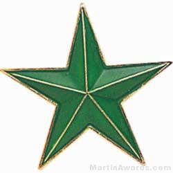 "7/8"" Etched Soft Enamel Green Star Chenille Letter Pin"