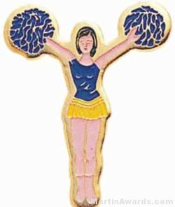 7/8″ Etched Soft Enamel Cheerleader Chenille Letter Pin 1