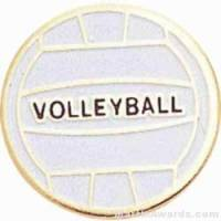 "3/4"" Etched Soft Enamel Volleyball Chenille Letter Pin"