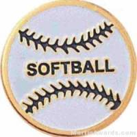 "3/4"" Etched Soft Enamel Softball Chenille Letter Pin"