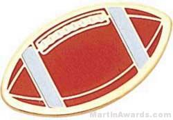 "1"" Etched Soft Enamel Football Chenille Letter Pin"