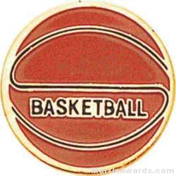 "7/8"" Etched Soft Enamel Basketball Chenille Letter Pin"