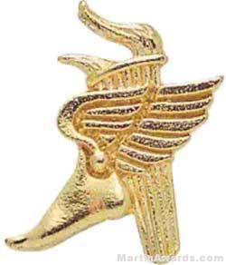 1″ Winged Foot Torch Chenille Letter Insert Pins 1