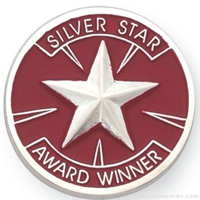 1″ Silver Star Award Lapel Pin 1