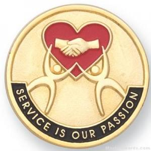 "1"" Service Is Our Passion Lapel Pin"