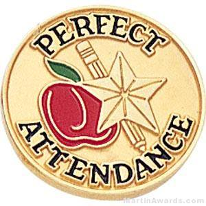 "3/4"" Perfect Attendance Round Enameled Lapel Pins"