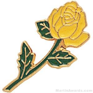 """7/8"""" Rose Shaped Yellow Enameled Custom Lapel Pins"""