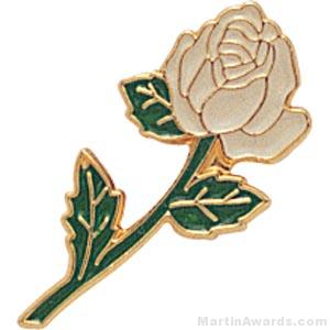7/8″ Rose Shaped White Enameled Custom Lapel Pins 1