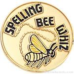 3/4″ Spelling Bee Whiz Round Enameled Lapel Pins 1