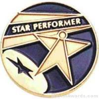 "3/4"" Star Performer Round Enameled Lapel Pins"