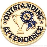 "3/4"" Outstanding Attendance Round Enameled Lapel Pins"