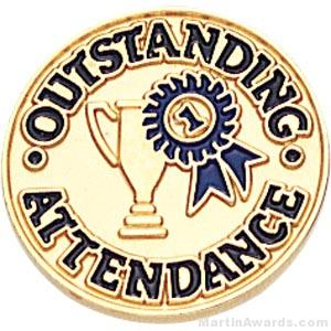 3/4″ Outstanding Attendance Round Enameled Lapel Pins 1