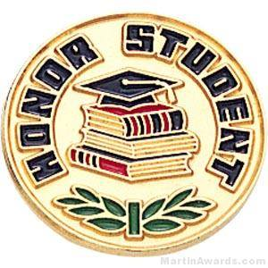 "3/4"" Honor Student Round Enameled Lapel Pins"