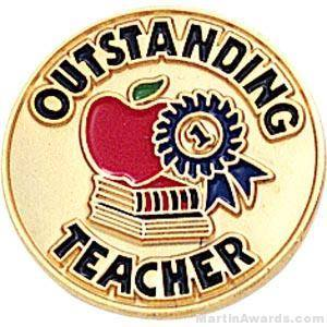 "3/4"" Outstanding Teacher Round Enameled Lapel Pins"