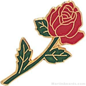 "7/8"" Rose Shaped Red Enameled Custom Lapel Pins"