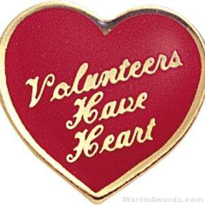"5/8"" Volunteers Have Heart Custom Lapel Pins"