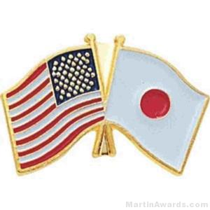 3/4″ Japanese-American Flag Pins 1