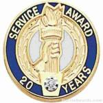 "3/4"" Service Recognition Award Pins 10 Years with Diamond"