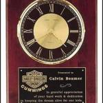 Clock Plaque Award – Rosewood Piano-Finish Clock with Black and Gold Dial 1