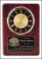 Clock Plaque Award - Rosewood Piano-Finish Clock with Black and Gold Dial