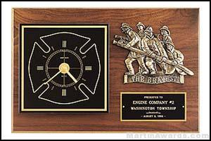 Plaque - Clock with Fireman Castings and Engravable Plate