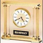 Clock Award – Upright Glass Clock with Brass Feet and Top 1
