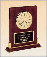 Desktop Clock Award - Rosewood Piano-Finish Wood Clock Award with Gold Accents