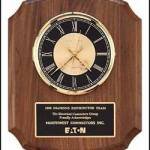 Clock Plaque Award – American Walnut Wall Clock Plaque Award 1