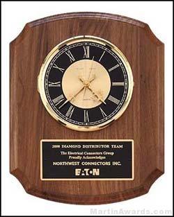 Clock Plaque Award - American Walnut Wall Clock Plaque Award
