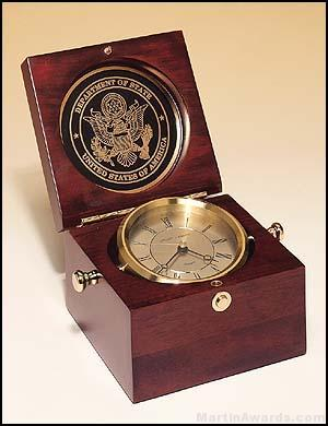 Clock Award – New Table Top Captain's Clock Mahogany Finish Case 1