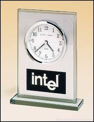 Desktop Clock Award - Glass Desk Clocks Brushed Aluminum Panel with White Dial