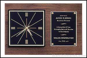 Clock Plaque Award - American Walnut Wall Clock Plaque Award with 2 Hanging Positions
