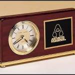 Clock Award – Rosewood Piano-Finish Desk Clocks with Engravable Plate 1