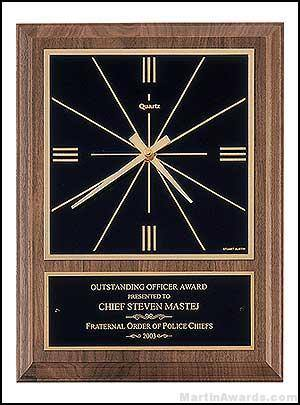 Clock Plaque Award - American Walnut Wall Clocks