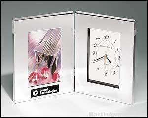 Desk Award – Combination Clock/Photo Frame in Polish Silver Aluminum 1