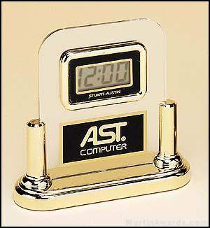 Desktop Clock Award - Acrylic Desk Clocks with Engravable Plate