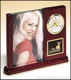 Clock Award – Rosewood Piano Finish Desk Clocks with Glass Picture Frame 1