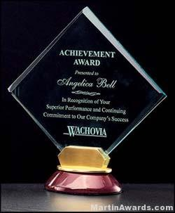 Acrylic Award - Diamond Series Acrylic with Rosewood & Gold Accent