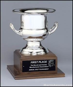 Trophy Cup On Solid Walnut Base