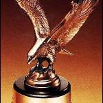 Eagle Award – Antique Bronze Cast Eagle Award with Black Round Base 1